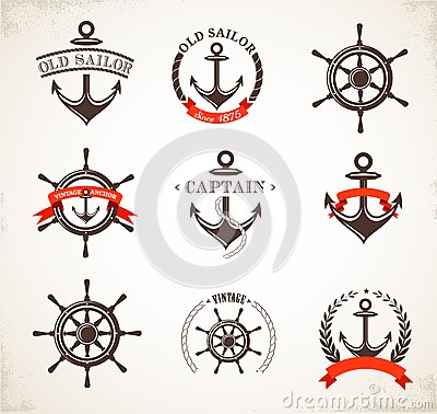 Free Set Of Vintage Nautical Icons And Symbols Stock Photo - 33525190