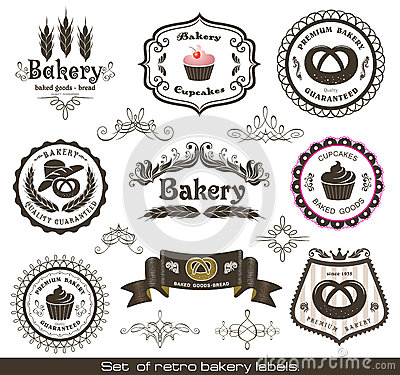 Free Set Of Vintage Retro Bakery Labels Royalty Free Stock Photography - 25133887