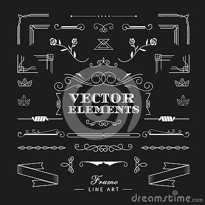 Free Set Of Vintage Retro Linear Thin Line Art Deco Design Elements G Stock Photos - 61333753