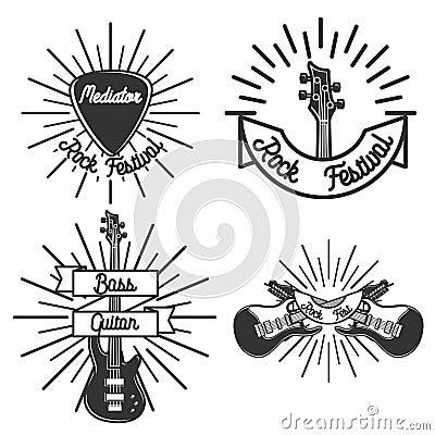 Free Set Of Vintage Rock Emblems Stock Photo - 74439850