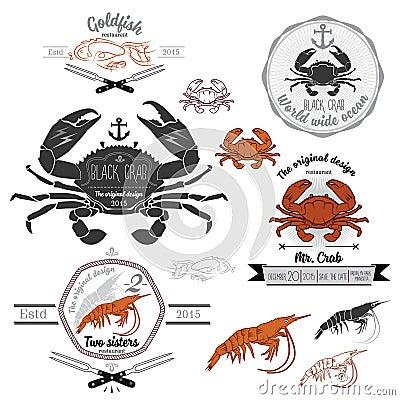 Free Set Of Vintage Seafood Labels And Design Elements Stock Images - 48787484