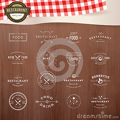 Free Set Of Vintage Style Elements For Labels And Badges For Restaurants Stock Photos - 44812663