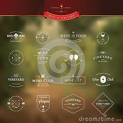 Free Set Of Vintage Style Elements For Labels And Badges For Wine Royalty Free Stock Photography - 44812847