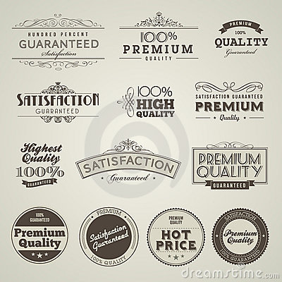 Free Set Of Vintage Styled Premium Quality Labels Royalty Free Stock Image - 22605526