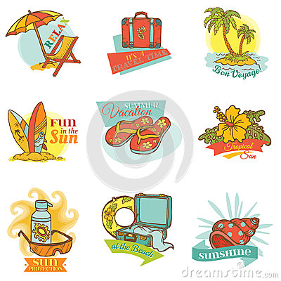 Free Set Of Vintage Summer Labels Royalty Free Stock Photography - 31304317