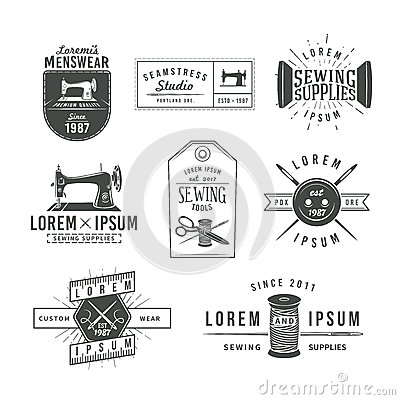 Free Set Of Vintage Tailor Labels, Emblems And Design Royalty Free Stock Photography - 55769407