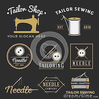 Free Set Of Vintage Tailor Shop Emblem Logo Royalty Free Stock Image - 57087646