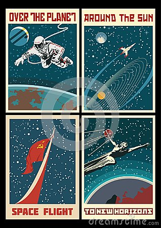 Free Set Of Vintage USSR Space Posters Royalty Free Stock Image - 123907576