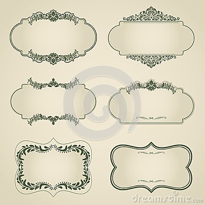Free Set Of Vintage Vector Labels, Frames, Borders. Royalty Free Stock Photography - 40219107