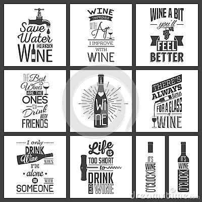 Free Set Of Vintage Wine Typographic Quotes Royalty Free Stock Photography - 61177157