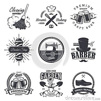 Free Set Of Vintage Workshop Emblems Stock Image - 59047751
