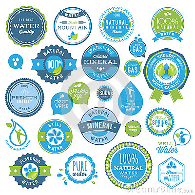 Free Set Of Water Badges And Stickers Stock Photo - 25176680