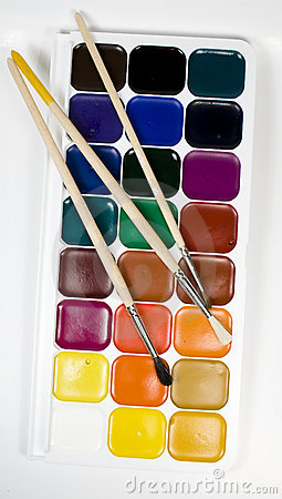 Free Set Of Water Colour Paints Stock Photography - 7777582