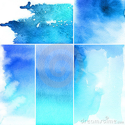 Free Set Of Watercolor Abstract Backgrounds Stock Photography - 15496292