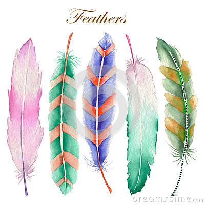 Free Set Of Watercolor Feathers Royalty Free Stock Image - 57303086