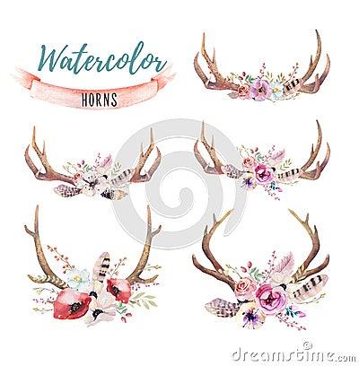 Free Set Of Watercolor Floral Boho Antler Print.  Western Bohemian De Royalty Free Stock Photography - 75745967