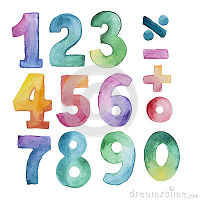 Free Set Of Watercolor Number From One To Nine And Zero Royalty Free Stock Image - 74857526