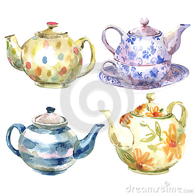 Free Set Of Watercolor Teapot On A White Background Stock Photography - 45636802
