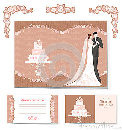 Free Set Of Wedding Cards Royalty Free Stock Photography - 32188247