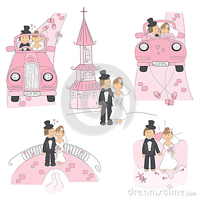 Free Set Of Wedding Illustration Royalty Free Stock Photos - 27957758