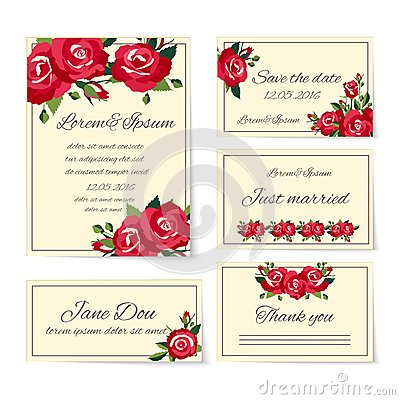 Free Set Of Wedding Invitation Cards With Roses Stock Photography - 39324002