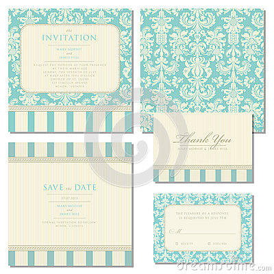 Free Set Of Wedding Invitations With Vintage Background Stock Photos - 36912143
