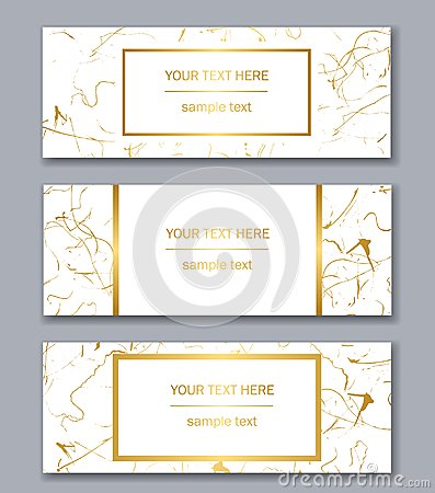 Free Set Of White, Black And Gold Banners Templates. Modern Abstract Royalty Free Stock Images - 101988459