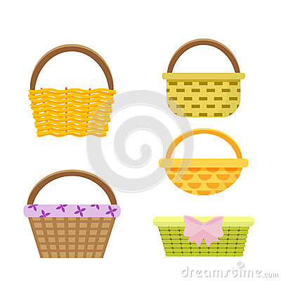 Free Set Of Wicker Baskets. Vector, Illustration In Flat Style Isolated On White Background EPS10. Stock Image - 86621201