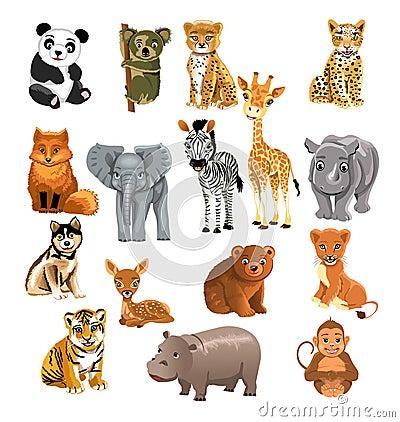 Free Set Of Wild Animals Stock Images - 32487044