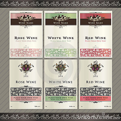 Free Set Of Wine Label Templates Stock Images - 21054584