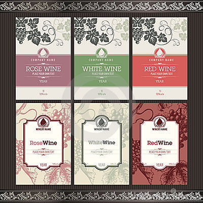 Free Set Of Wine Labels Stock Photo - 21054600