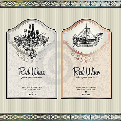 Free Set Of Wine Labels Stock Images - 21054624