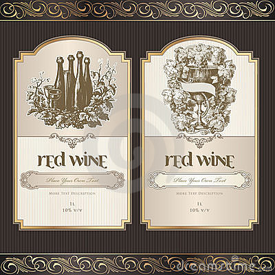 Free Set Of Wine Labels Royalty Free Stock Photos - 21054648