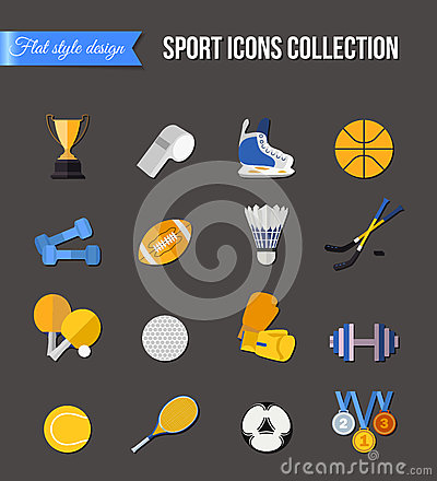 Free Set Of Winter And Summer Sport Isolated Icons. Hockey-stick, Baseball, Volleyball, Badminton, Rugby. Flat Style Design. Stock Photography - 67117012