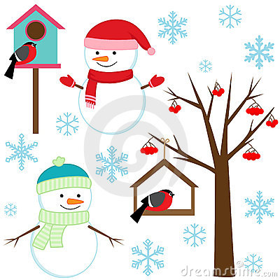 Free Set Of Winter Elements Royalty Free Stock Photo - 22052305