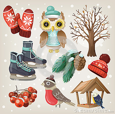 Free Set Of Winter Items And Elements Stock Photography - 35317082