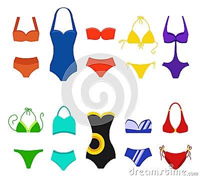 Free Set Of Women Swimsuit Isolated On White Background. Bikini Bathing Suits For Swimming. Fashion Bikini, Tankini And Stock Images - 119443494