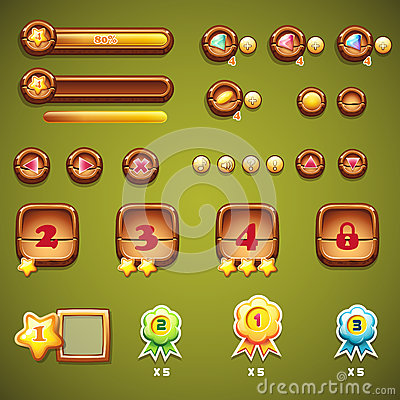 Free Set Of Wooden Buttons, Progress Bars, And Other Elements For Web Design Royalty Free Stock Image - 46098476
