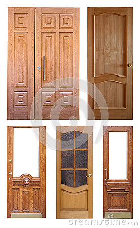 Free Set Of Wooden Doors. Isolated Over White Royalty Free Stock Photo - 28184115