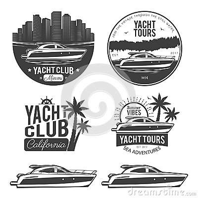 Free Set Of Yacht Logos Stock Photography - 96240072