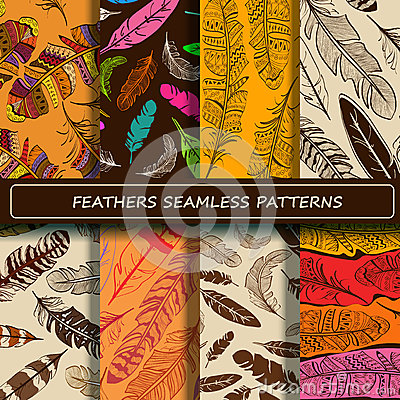 Free Set Of Yellow Brown Abstract Ethnic Bird Feather Seamless Patter Stock Photos - 53863283