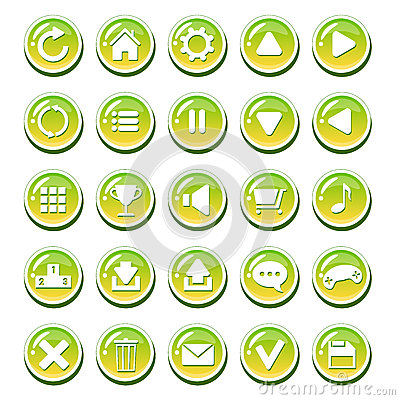 Free Set Of Yellow Green Glassy Buttons For Interfaces (game Interface, App User Interface). Royalty Free Stock Photo - 71908365