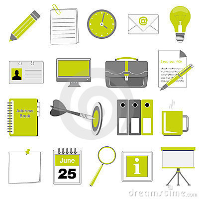 Set of office and business icons