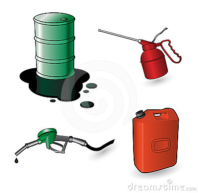 Set of oil items