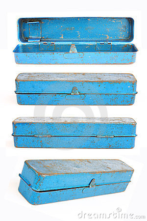 A set of old blue toolbox