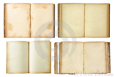 Set of Old book open isolated on white