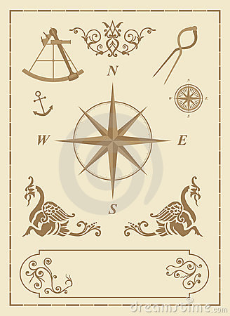 Set of old nautical symbols