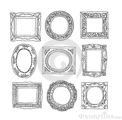 Set of old picture frames, hand drawn vector illustration Vector Illustration