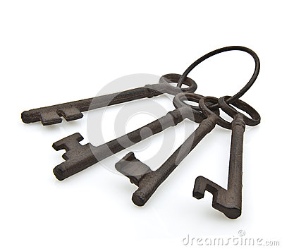 Set of old rusty antique keys
