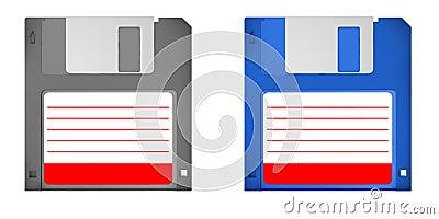 Set of 2 old skool floppy disks